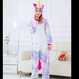 unisex adult rainbow and stars unicorn onesie